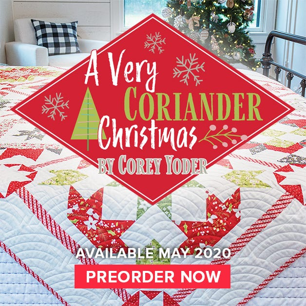 A Very Coriander Christmas Book Reservation by Corey Yoder of Coriander Quilts for It's Sew Emma #ISE-939
